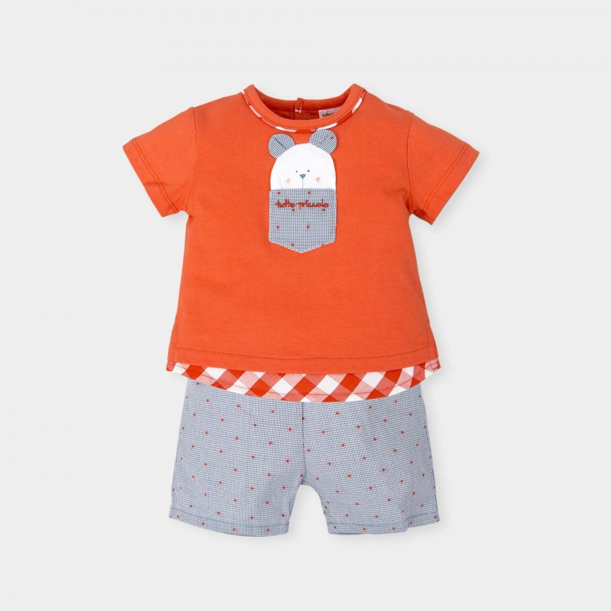 t-shirt-oranje-short-grijs-motief-oranje