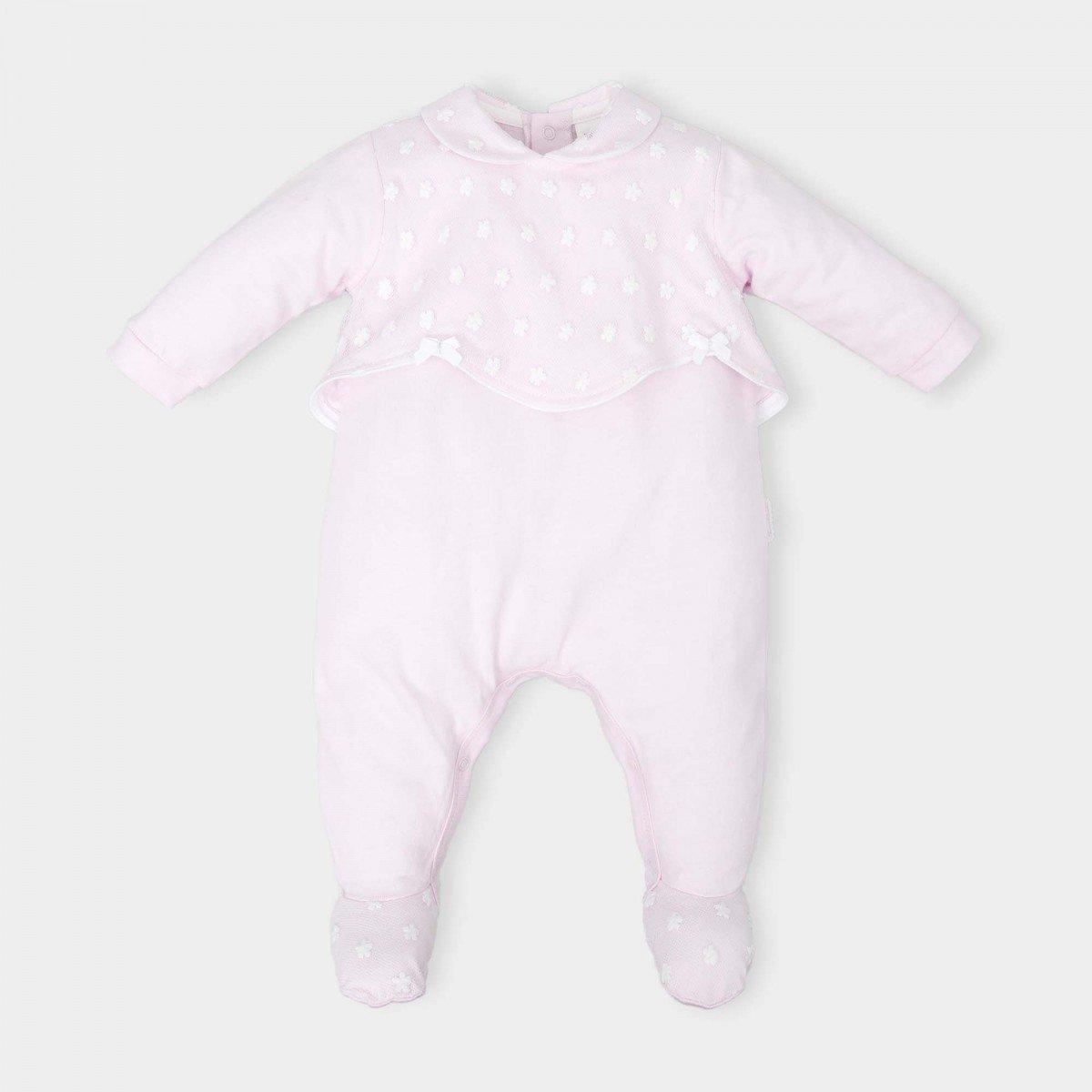 1-delige-pyjama-roze-bovenstuk-voile-witte-bloempjes