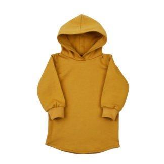 hoodie-jurkje-capuchon-okergeel