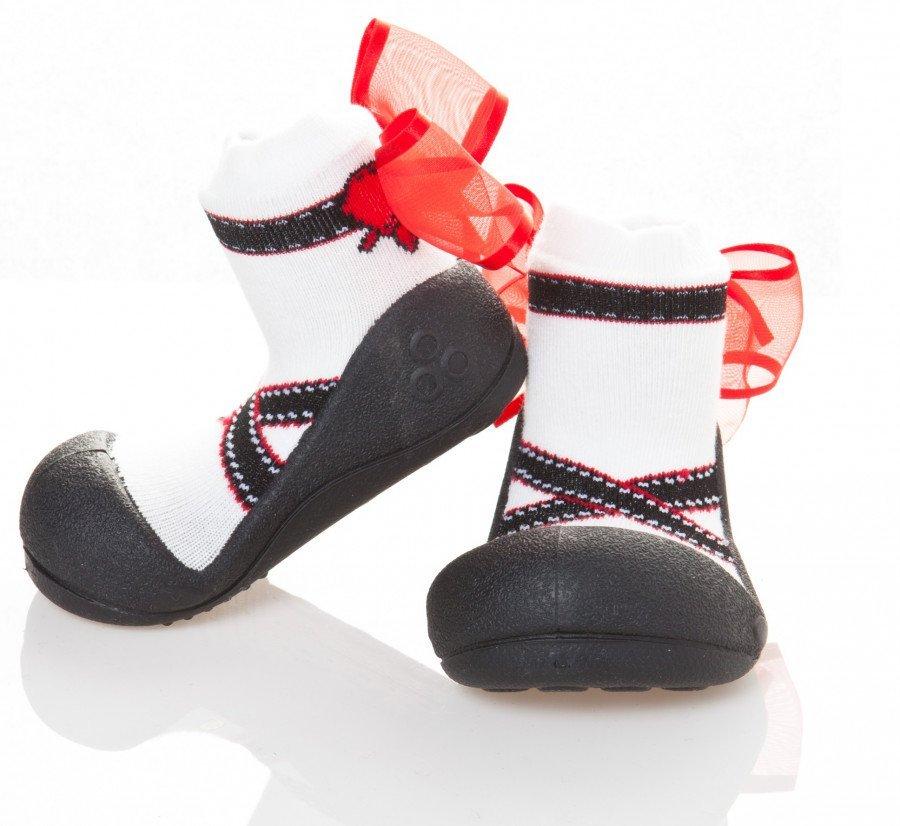 kinderschoentjes-ballet-wit-zwart-met-rode-strik